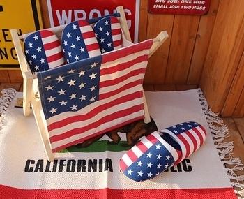 アメリカ柄スリッパ 星条旗スリッパ<div><br></div>アメリカ雑貨屋 サンブリッヂ 岩手雑貨屋