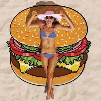 ピザビーチタオル ハンバーガービーチ<div><br></div>アメリカ雑貨屋 サンブリッヂ 通販タオル