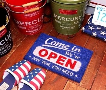 OPENミニココマット OPENコイヤーマット OPEN玄関マット アメリカ雑貨屋 サンブリッヂ 玄関マット通販