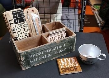 ミリタリーストレージウッドボックス ステンシル文字入りボックス 工具小物入れ アメリカ雑貨屋 SUNBRIDGE