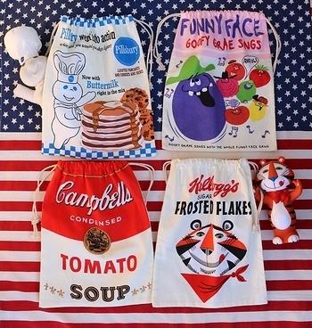 ドゥボーイ巾着 ファニーフェイス巾着 キャンベル巾着 ケロッグタイガー巾着 アメリカ雑貨屋 サンブリッヂ