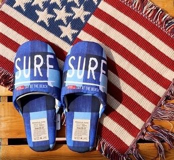カリフォルニアスタイルスリッパ デニムパッチスリッパ アメリカン雑貨 アメリカ雑貨屋 サンブリッヂ SUNBRIDGE 岩手雑貨屋