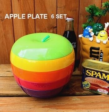 アップルプレート6枚 キャンプ皿 りんごの皿 運動会お弁当 アメリカ雑貨屋 SUNBRIDGE 岩手雑貨屋 アメリカン雑貨