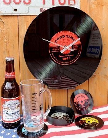 レコードミニ時計 80'sレコード アメリカ雑貨屋 サンブリッヂ SUNBRIDGE 岩手雑貨屋