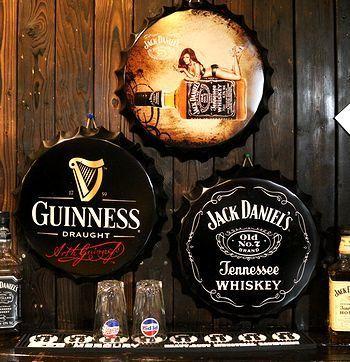ギネスビール看板 ジャックダニエル看板 王冠ボトルサイン看板  アメリカ雑貨屋 SUNBRIDGE 岩手矢巾