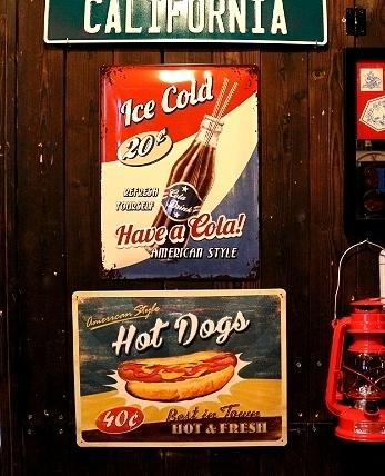 コカコーラブリキ看板 ホットドッグ看板 アメリカ雑貨屋 サンブリッヂ 看板通販