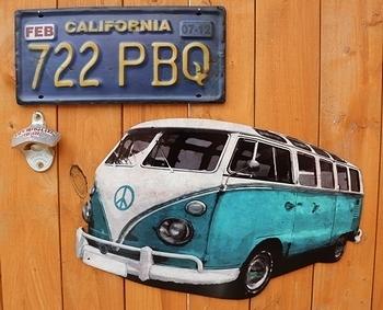 ワーゲンバス看板 VW看板 アメリカ雑貨屋 サンブリッヂ ブリキ看板通販
