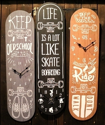 オールドルッククロック スケートボード型壁掛け時計<div><br></div>アメリカ雑貨屋 サンブリッヂ 岩手