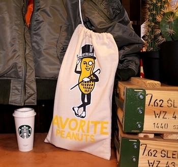 ミスターピーナッツ巾着 ミスターピーナッツスウェット巾着 アメリカ雑貨屋 サンブリッヂ 岩手雑貨屋 SUNBRIDGE