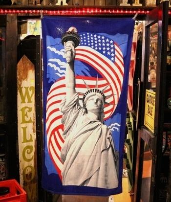 自由の女神ビーチタオル USAバスタオル アメリカ雑貨屋 SUNBRIDGE アメリカン雑貨 岩手 盛岡 矢巾雑貨屋
