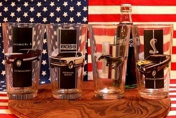 フォードマスタンググラスセット FORD MUSTANG アメ車  アメリカ雑貨屋 SUNBRIDGE 岩手 アメリカングラス