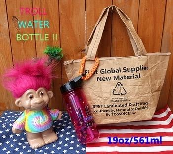 トロールストロー付きウォーターボトル TROLL トロール水筒 キャラクターボトル  アメリカ雑貨屋 SUNBRIDGE 岩手アメリカン雑貨