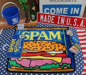 スパムフロアマット スパム缶 アメリカンマット 玄関マット SPAM アメリカ雑貨屋 SUNBRIDGE 岩手雑貨屋