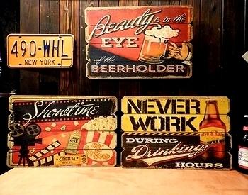 アメリカン木製看板 ビール看板 映画看板 アメリカ雑貨屋サンブリッヂ SUNBRIDGE 岩手雑貨屋 アメリカ雑貨通販