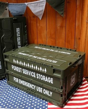USコンテナケース 森林局の折り畳みコンテナボックス 収納ケース アメリカ雑貨屋サンブリッヂ SUNBRIDGE 岩手雑貨屋