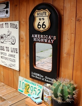 ルート66壁掛けミラー アメリカンパブミラー アンティークミラー アメリカン雑貨 アメリカ雑貨屋 SUNBRIDGE 岩手盛岡雑貨屋