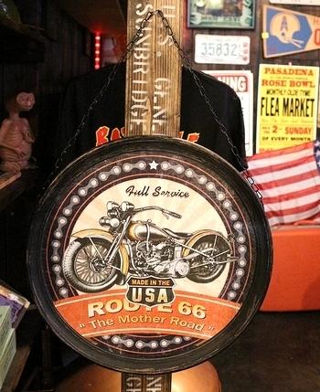 ハンギングラウンドプラッケ 木製ラウンド看板 バイク看板 チェーン付き看板 アメリカン看板 アメリカ雑貨屋 SUNBRIDGE 岩手盛岡 矢巾雑貨屋