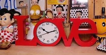 LOVEクロック テーブルクロック 壁掛けクロック 置き時計 アメリカン時計 アメリカ雑貨屋 SUNBERIDGE サンブリッヂ 岩手雑貨屋