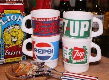 セブンアップミルクガラスマグ ペプシミルクガラスマグ アメリカンミルクグラス 7UP PEPSI アメリカ雑貨屋 SUNBRIDGE 岩手雑貨屋