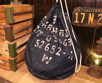 デニム巾着 アメリカ軍巾着 ランドリーバッグステンシル アメリカ雑貨屋 サンブリッヂ SUNBRIDGE 岩手雑貨屋 アメリカ雑貨通販