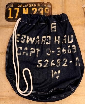 ランドリーバッグステンシル デニム巾着アメリカ軍巾着 デニムランドリーバッグ アメリカ雑貨屋 サンブリッヂ SUNBRIDGE 岩手雑貨屋 アメリカ雑貨通販