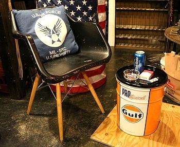 ガルフのオイル缶スツール オイル缶チェア アメリカ雑貨屋 サンブリッヂ SUNBRIDGE 岩手雑貨屋