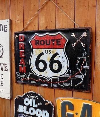 ルート66ビンテージ看板 ガレージ看板 ROUTE66 アメリカ雑貨屋 SUNBRIDGE 岩手矢巾町