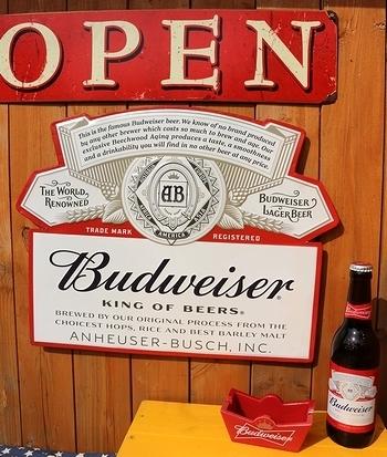 バドワイザー看板 ビールブリキ看板 バドワイザーラベルサイン アメリカ雑貨屋 SUNBRIDGE 岩手アメリカン雑貨屋