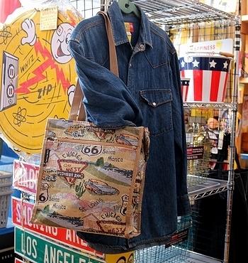 ROUTE66 ショッピングバッグ アメリカ雑貨屋 サンブリッヂ SUNBRIDGE 岩手雑貨屋
