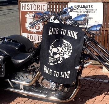 デニムタペストリー ステンシルタペストリー バイク旗 アメリカ雑貨屋 サンブリッヂ SUNBRIDGE 岩手雑貨屋