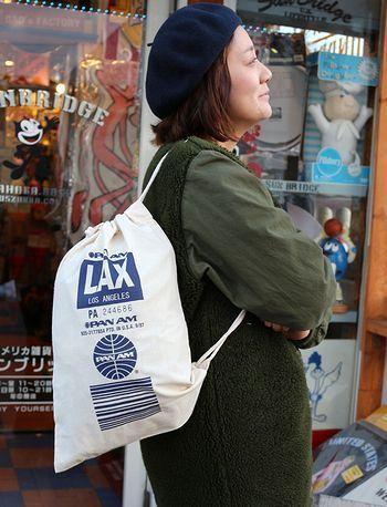 パンナム巾着 PANAM アメリカ雑貨屋 サンブリッヂ SUNBRIDGE 岩手雑貨屋 アメリカ雑貨通販