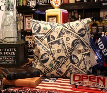 ドルクッション ドル札 クッションカバー  アメリカ雑貨屋 アメリカン雑貨 サンブリッヂ 岩手雑貨屋 通販 矢巾町