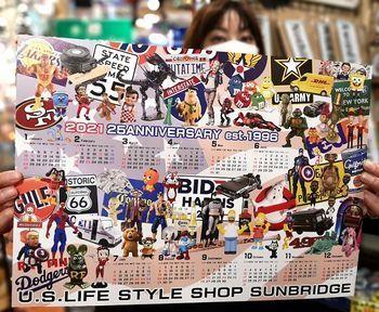 2021アメリカンカレンダー サンブリッヂカレンダー アメリカ雑貨屋 アメリカン雑貨 サンブリッヂ 岩手雑貨屋 通販 矢巾町