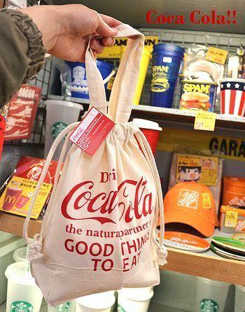 コカ・コーラ巾着トートバッグ ランチバッグ コカ・コーラ アメリカ雑貨屋 SUNBRIDGE 岩手矢巾雑貨