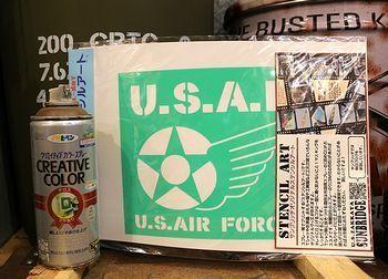 エアフォースステンシルシート エコバッグステンシル ステンシルシート アメリカ雑貨屋 SUNBRIDGE 岩手矢巾