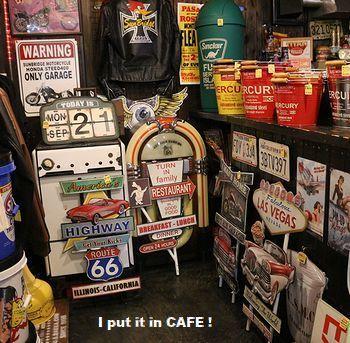 アメリカンウォールデコ看板 ガレージ看板 アメリカンオールドカフェ アメリカ雑貨屋 サンブリッヂ 岩手雑貨 矢巾町