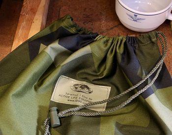 ミリタリー巾着袋 スウェーデン軍迷彩巾着 ミリタリーバッグ アメリカ雑貨屋 サンブリッヂ SUNBRIDGE 岩手雑貨屋 アメリカ雑貨通販 布マスク販売店