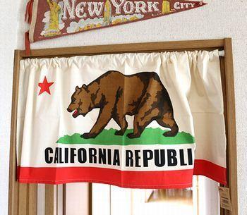 カリフォルニアカフェカーテン カリフォルニア旗 アメリカ雑貨屋 サンブリッヂ SUNBRIDGE 岩手雑貨屋 アメリカ雑貨通販 布マスク販売店